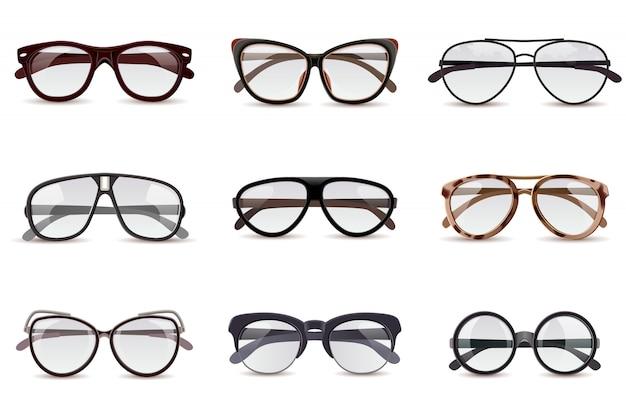 Conjunto de óculos realistas