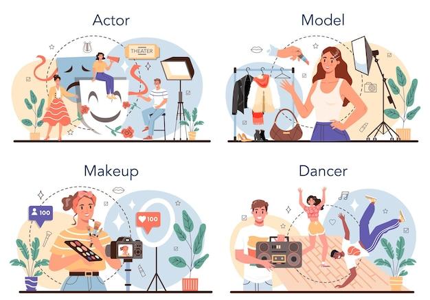 Conjunto de ocupação artística e do showbusiness ator dançarino maquiagem artista