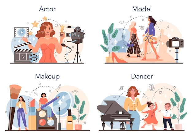 Conjunto de ocupação artística e showbusiness. ator, dançarino, maquiador e modelo. coleção de profissões modernas. ilustração vetorial plana