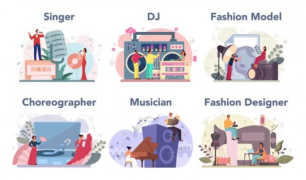 Conjunto de ocupação criativa. moda er e dj no trabalho, dançarino