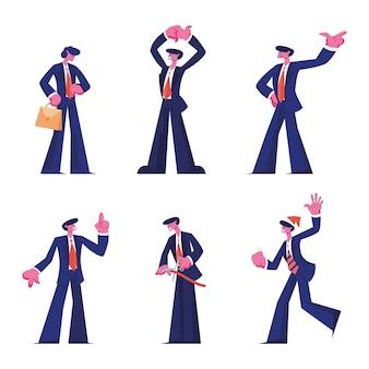 Conjunto de ocupação do empresário. ilustração plana dos desenhos animados