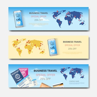 Conjunto de oferta especial de viagens de negócios de banners horizontais de modelo