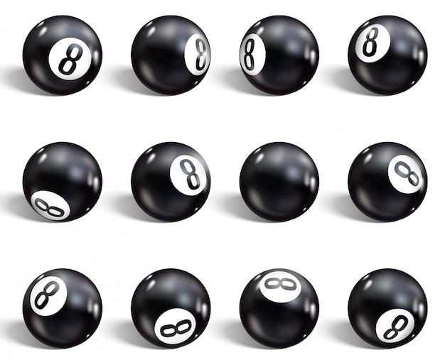 Conjunto de oito bola realista Vetor Premium