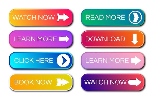 Conjunto de oito botões gradientes modernos com sombras. leia mais botões. ilustração vetorial