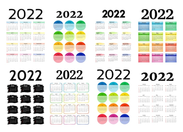 Conjunto de oito calendários verticais para 2022, isolado em um fundo branco. domingo a segunda-feira, modelo de negócios. ilustração vetorial