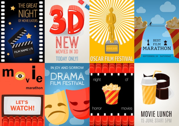Conjunto de oito cartazes de cinema
