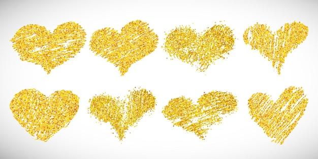 Conjunto de oito corações de glitter dourado desenhados à mão. símbolo do amor. ilustração vetorial