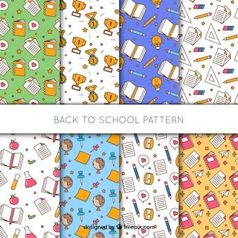 Conjunto de oito de volta aos padrões de escola