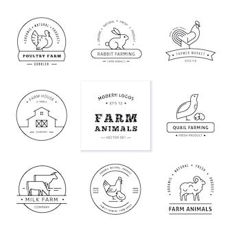 Conjunto de oito logotipos de estilo linear moderno com animais da fazenda, com espaço para o nome do texto ou empresa