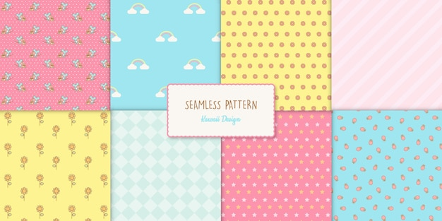 Conjunto de oito padrões sem emenda de kawaii