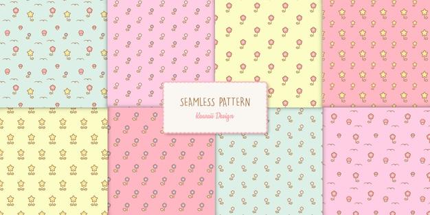 Conjunto de oito padrões transparentes sem costura florais