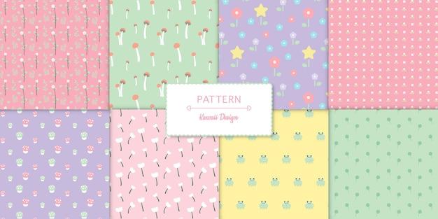 Conjunto de oito padrões transparentes sem costura kawaii bonito
