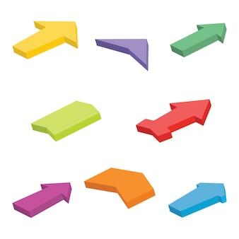 Conjunto de oito setas isométricas coloridas. ilustração vetorial