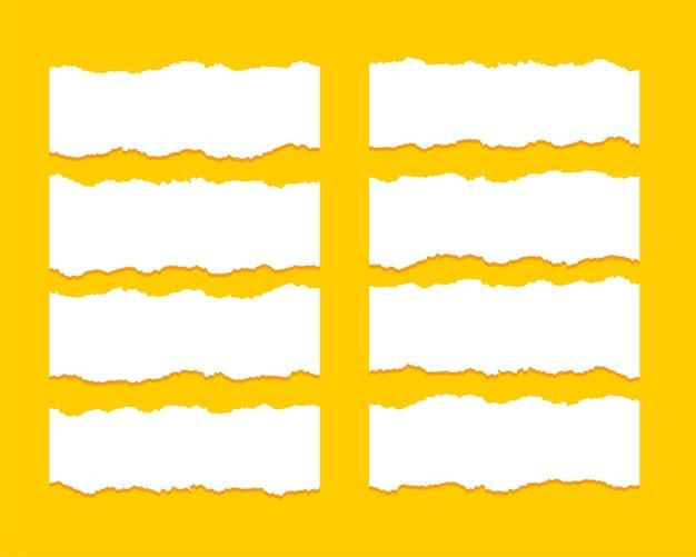 Conjunto de oito texturas de folha de papel rasgador