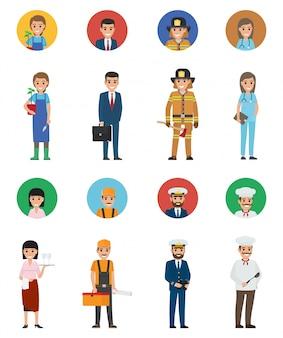 Conjunto de oito vocações. avatares completos e redondos