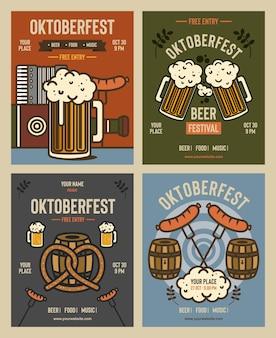 Conjunto de oktoberfest festival de cerveja cartaz panfleto banner modelo cartaz estilo vintage