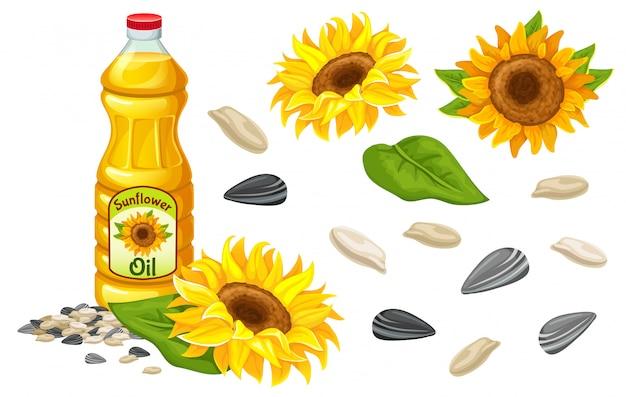 Conjunto de óleo de girassol, flores, sementes e folhas.