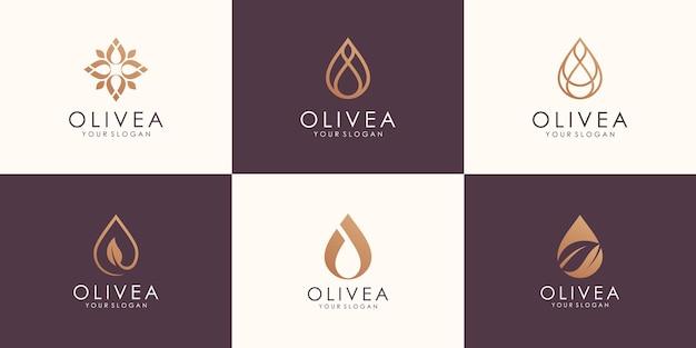 Conjunto de óleo minimalista abstrato com design de logotipo de conceito de linha