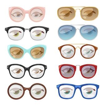Conjunto de olho humano de óculos.