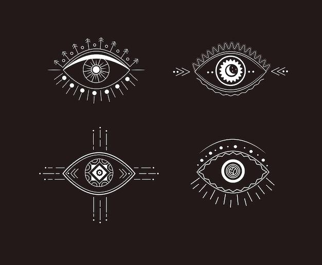 Conjunto de olhos boho símbolos mágicos e misteriosos