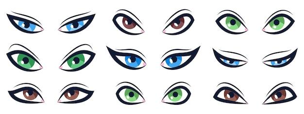 Conjunto de olhos de desenho animado