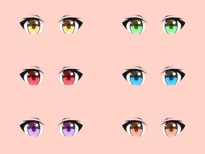 Conjunto de olhos de manga anime kawaii fofos e legais