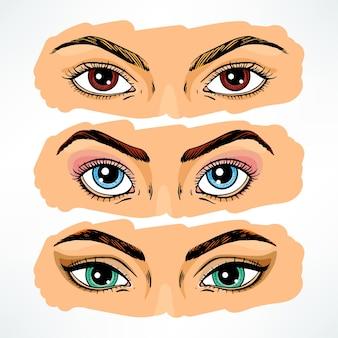 Conjunto de olhos de mulheres diferentes.
