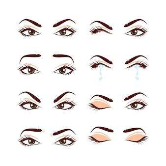 Conjunto de olhos e sobrancelhas femininas fofas coloridas com diferentes expressões