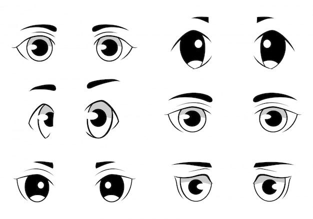 Conjunto de olhos estilo anime