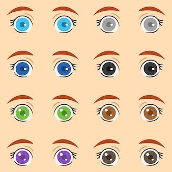 Conjunto de olhos femininos coloridos