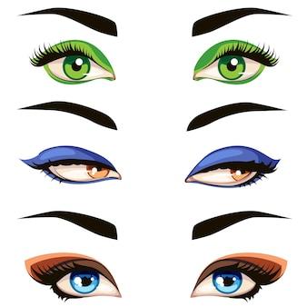 Conjunto de olhos femininos de cor. ilustração desenhada à mão