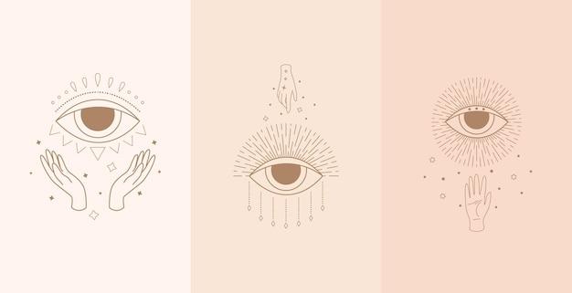 Conjunto de olhos místicos com mãos de mulher. ilustração no estilo boho