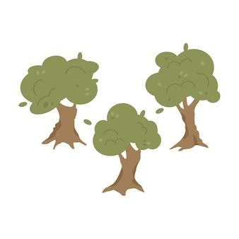 Conjunto de oliveiras com folhagem e ilustração dos desenhos animados de tronco grande