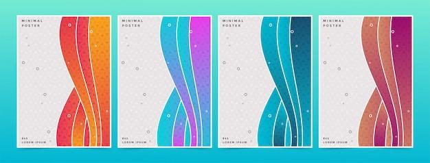 Conjunto de onda abstrata colorido mínimo cobre padrão