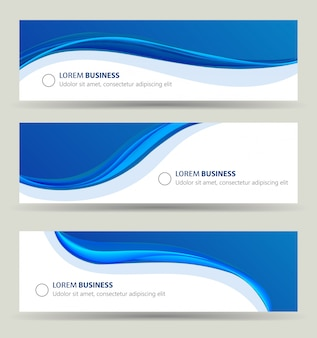 Conjunto de onda de banner de negócios