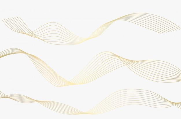 Conjunto de onda de linhas de ouro.