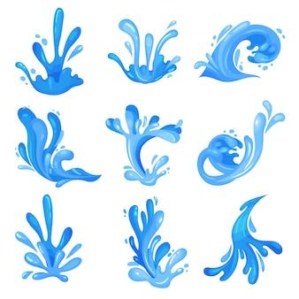 Conjunto de ondas azuis do mar ou oceano, fluxo de água poderoso ilustrações