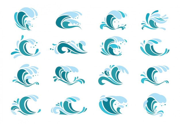 Conjunto de ondas azuis