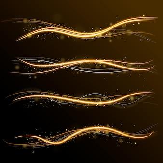 Conjunto de ondas de brilho brilhante