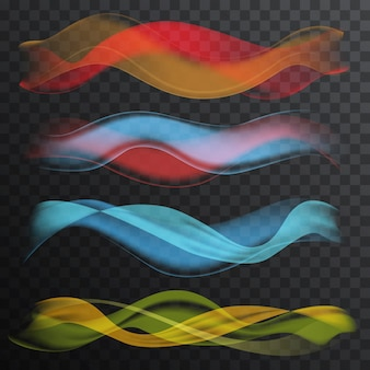 Conjunto de ondas de fumaça de cor suave