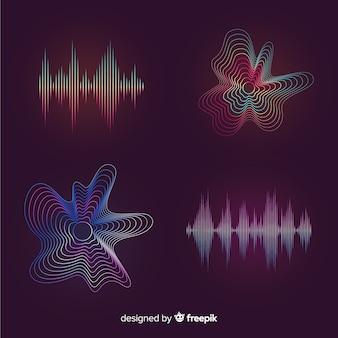 Conjunto de ondas de luz colorida