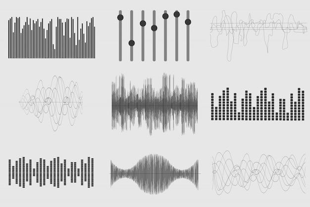 Conjunto de ondas de música de som