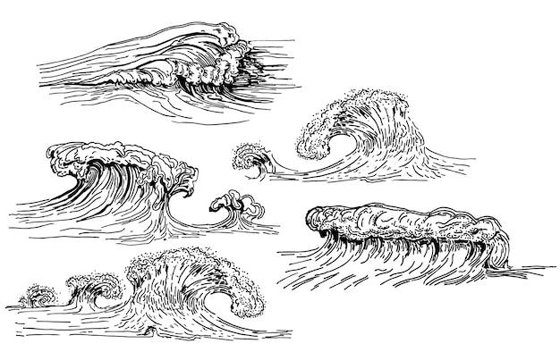 Conjunto de ondas desenhadas mão de tinta