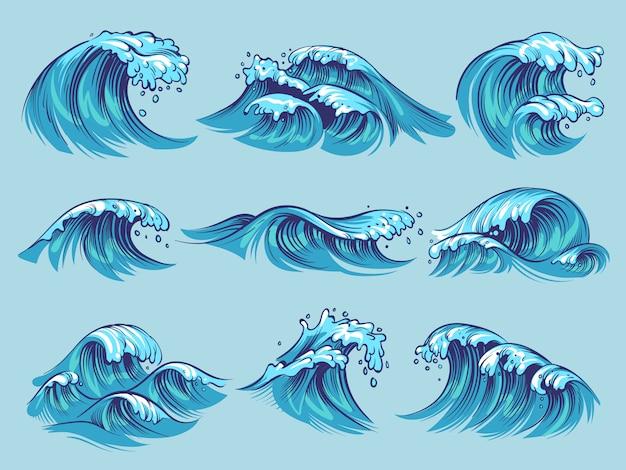 Conjunto de ondas do oceano mão desenhada