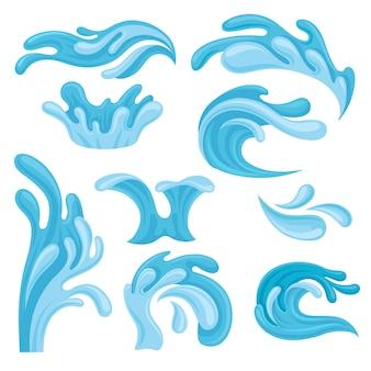 Conjunto de ondas do oceano ou mar, elemento de salpicos de água para o tema náutico marinho ilustrações sobre um fundo branco