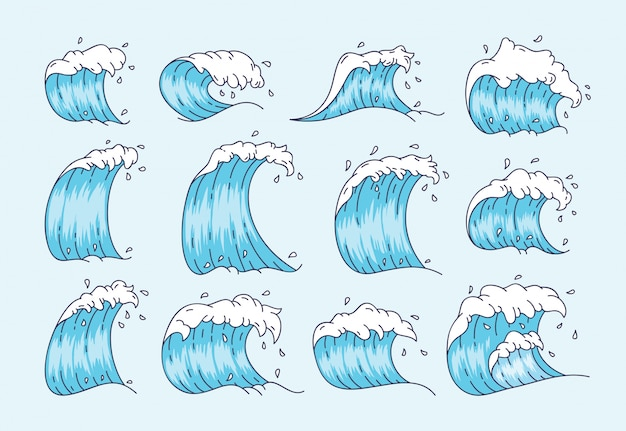 Conjunto de ondas em estilo japonês
