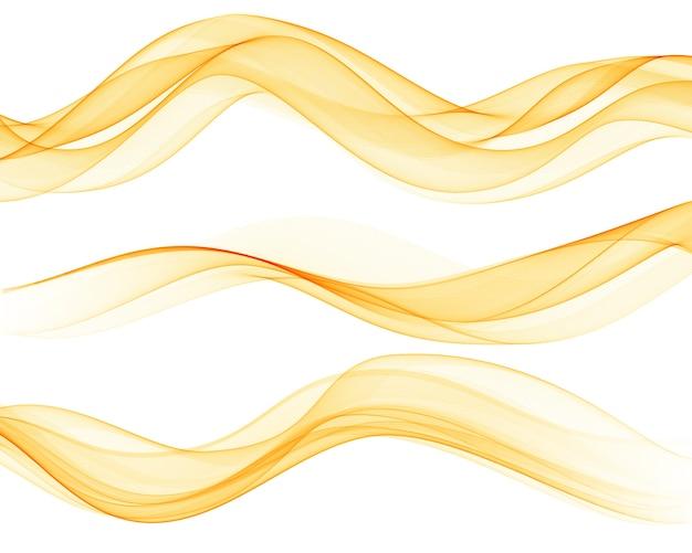 Conjunto de ondas laranja abstratas. ilustração