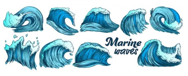 Conjunto de ondas marinhas de respingo de cor