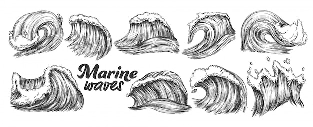 Conjunto de ondas marinhas de respingo de esboço projetado