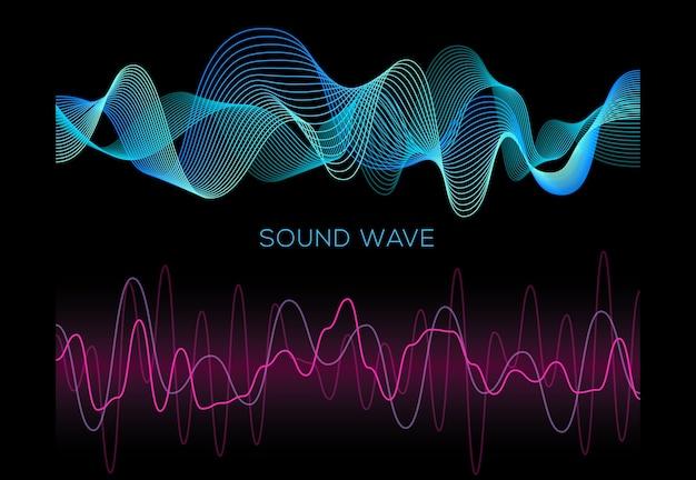 Conjunto de ondas sonoras coloridas em fundo preto, reprodutor de áudio, equalizador, pulso musical